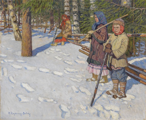 children in a wintry forest by nikolai petrovich bogdanov belsky