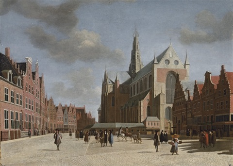 a view of haarlem with st bravos cathedral by gerrit adriaensz berckheyde