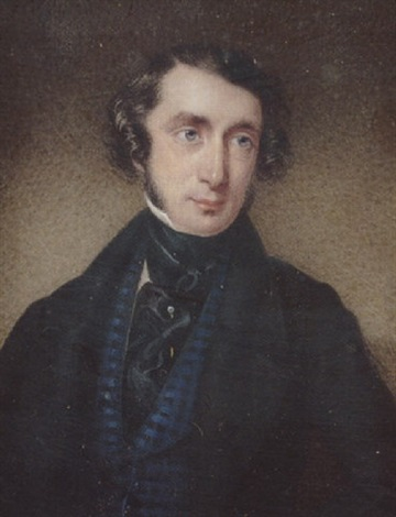 a gentleman with side whiskers wearing black coat checked blue waistcoat black stock and frilled cravat by f courtenay
