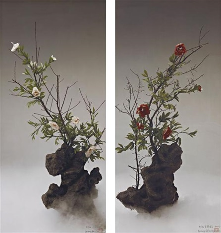 white peony red peony 2003 2 works by wang qingsong