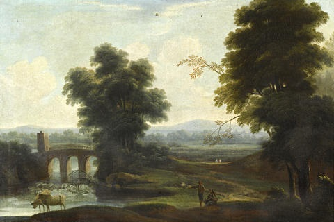 peasants grazing their cattle before an italianate landscape with a bridge in the distance by pierre antoine patel
