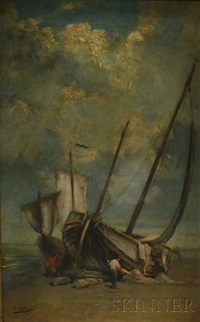 two sailing vessels on the sand by jean c. ubaghs