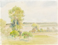 paysage de bazincourt by camille pissarro