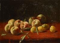 stilleven met pruimen en perziken by frans mortelmans
