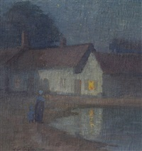 nocturnal scene with mother and child near a village pond by carl olof eric lindin