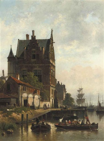 a view on the quay of the schelde with the pilotage antwerp by jean jan michael ruyten
