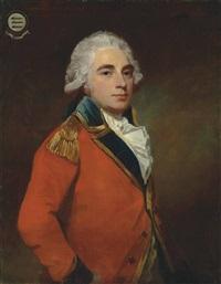 portrait of general albemarle bertie, 9th earl of lindsay (1744-1818), half-length, in the uniform of the grenadier guards by george romney