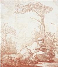une femme étendue dans un paysage lisant un livre by charles norbert roëttiers