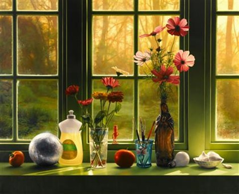 an artists windowsill by scott prior