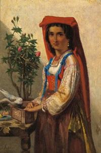 portrait eines mädchens in italienischer tracht by sipke (cornelis) kool