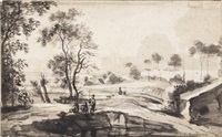 a wooded river landscape with fishermen by roelant roghman