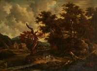 conversation de cavaliers sur fond de paysage (after jacob van ruysdael) by flemish school (19)