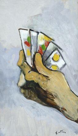 mano con carte by renato guttuso