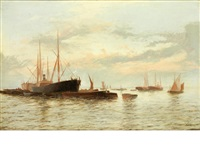 steamers and barges anchored in open water by edward henry eugene fletcher