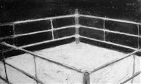 boxing ring; and two black crayon heightened with white   studies of a boxer each (30.5 x 18cm) (3) by sam rabin