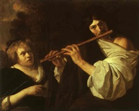 shepherd playing the flute and a woman singing by gysbert (gerard) van der kuil
