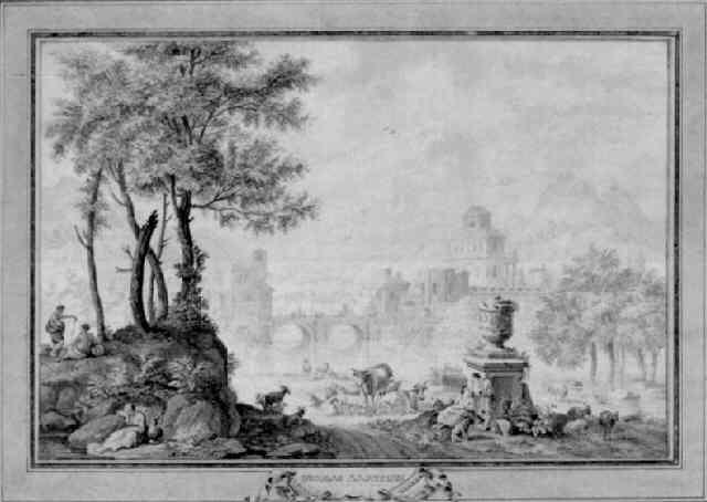 a classical capriccio landscape by nicolaas aartman