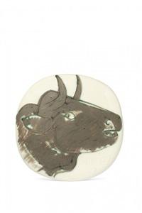 profil de taureau noir, 22 fevrier 1956 by pablo picasso