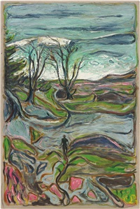 man in a landscape - north beach san franscisco by billy childish