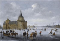 skaters on a frozen lake near a castle by anthonie van stralen