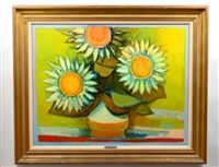 sunflowers against green by david pryor adickes
