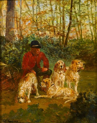 a huntsman waiting with hounds by em samson