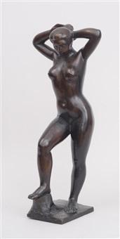 nu debout se coiffant (baighneuse aux bras levés) by aristide maillol