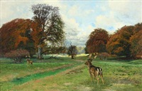 scenery with two fallow bucks a fall day in dyrehaven by thorvald simeon niss