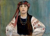 paysanne en costume folklorique by mikhail nikolaevich yakovlev