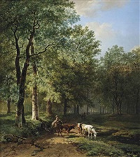 a wooded landscape with travellers resting on a sunlit path by barend cornelis koekkoek