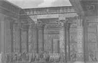 a procession in honor of horus in the temple at philae by jean baptiste lepère