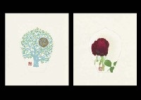 falling flowers (set of 7)(+ another; 14 works) by tomikichiro tokuriki