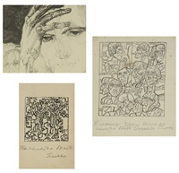 self-portrait; composition with two figures; untitled (heads) (3 works) by pavel nikolaevich filonov