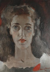 portrait of a young woman by nora auric