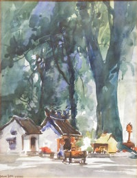 buildings beneath trees by yong mun sen