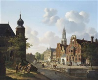 a sunny day on the town square by jan hendrik verheyen