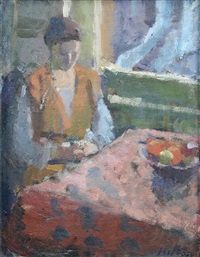 seated female at a table (2 works) by bo hilton