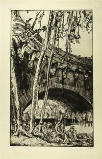 arch of the pont neuf paris by sir frank brangwyn