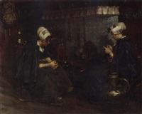 volendam girls in an interior by rudolf possin