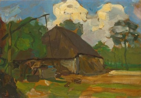 farm building with well in daylight by piet mondrian