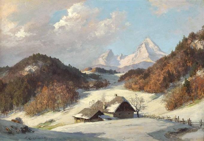 winterlandschaft mit watzmann by franz kulstrunk
