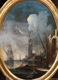 vedute di porto con velieri e pescatori (pair) by pietro antoniani