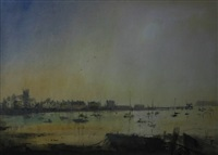 beaumaris shoreline with numerous boats at sunset by william selwyn