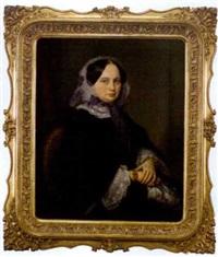 sitzende dame in biedermeier-kleidung und mit armschmuck by moritz adler