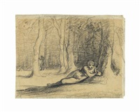 a reclining female nude in a wooded landscape by jean françois millet