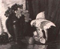 still life with parrot and grapes by carolyn f. smith