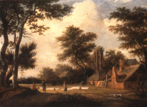 a dutch landscape with figures in a field drying linen near a