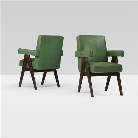 committe armchairs from the high court, chandigarh (pair) by pierre jeanneret