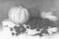 still life of cantaloupe and raspberries by clara l. maxfield