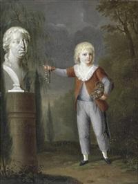 landskab med fornem klædt dreng med blomsterkurv og mindekrans, pegende på buste af faderen by johann heinrich tischbein the younger